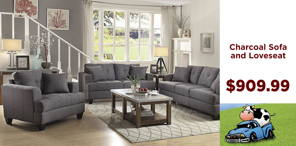 Charcoal Sofa & Loveseat