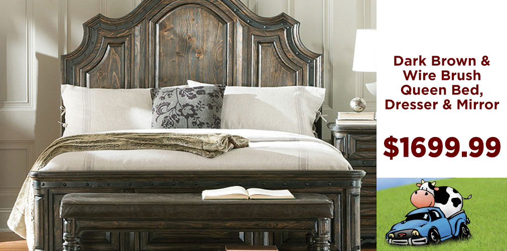 Dark Brown Wire Brush Queen Bed