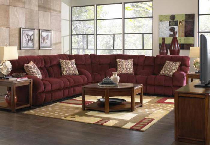 Siesta Wine Reclining 3 Piece Sectional,Catnapper