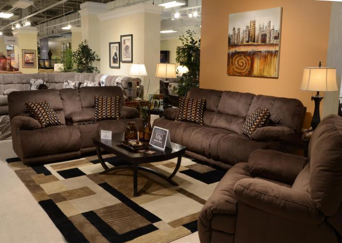 Riley Coffee Reclining Sofa & Reclining Loveseat with Console,Catnapper