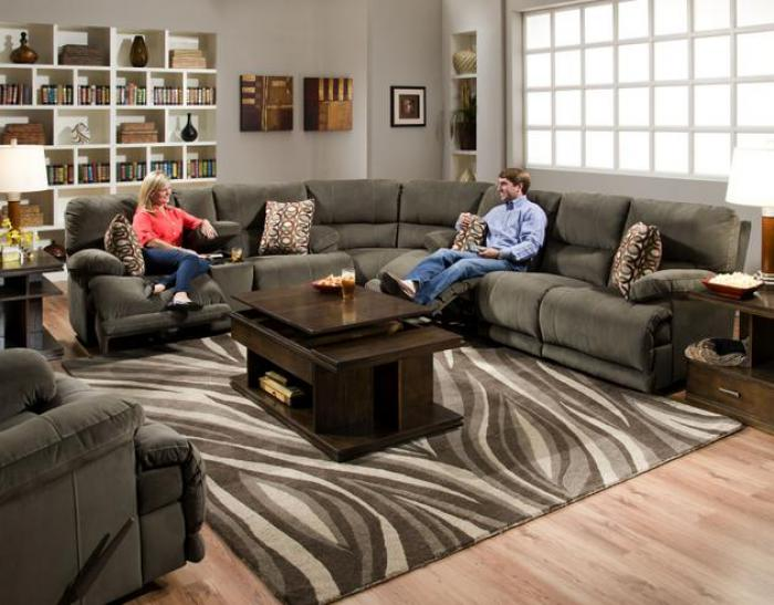 Riley Charcoal Reclining 3 Piece Sectional,Catnapper
