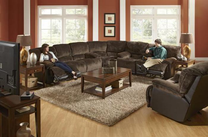 Escalade Chocolate Reclining 3 Piece Sectional,Catnapper
