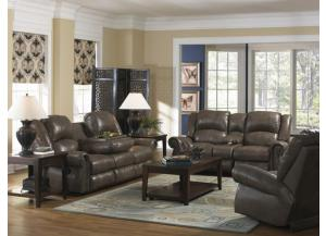 Livingston Smoke Reclining Sofa with Drop Down Table