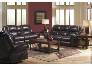 Livingston Redwood Reclining Sofa With Drop Down Table
