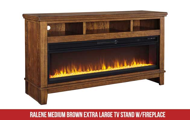 Ralene Medium Brown Extra Large TV Stand with Fireplace insert