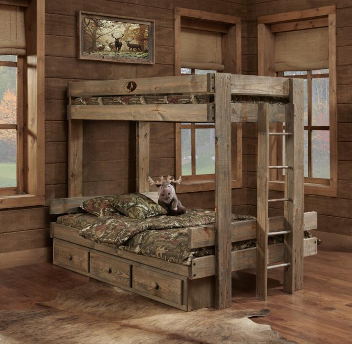 Twin/Full Bunk Bed w/2 Drawer Under Bed Unit,Simply Bunk Beds