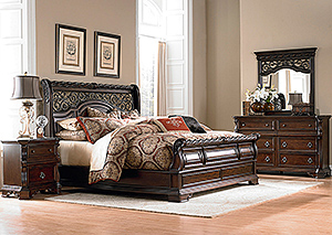 Arbor Place King Sleigh Bed, Dresser, Mirror, Chest & Nightstand