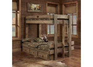 Twin/Full Bunk Bed w/2 Drawer Under Bed Unit