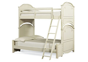 Charlotte Antique White w/Light Distressing Twin over Full Bunk