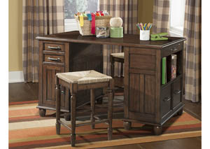 Blue Ridge Cherry Craft Desk with Stools