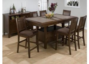 Caleb Counter Top Table and 6 Weave Back Counter Stools with Microfiber Seats