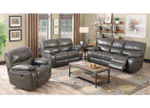 Charcoal Grey Top Grain Leather Power Reclining Love Seat