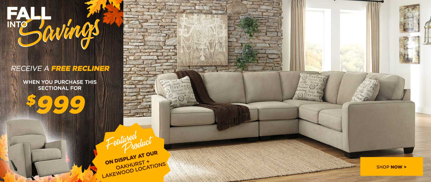 $999 Sectional with Free Recliner