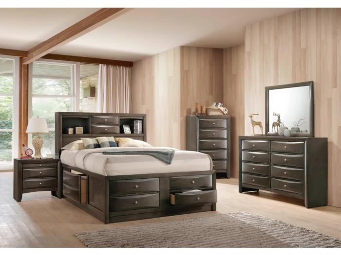 MB165 Contemporary Gray Queen Storage Bed, Dresser, Mirror & Nightstand,Taft Furniture Showcase