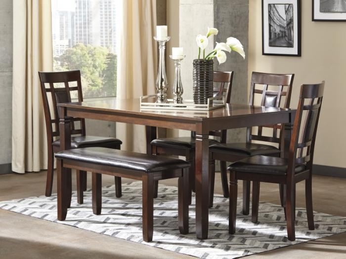 Dining Room DR97 Contemporary Brown Table Bench 4 Chairs