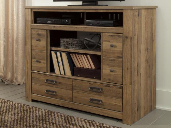 MB67 Vintage Light Brown Media Chest ,Taft Furniture Showcase
