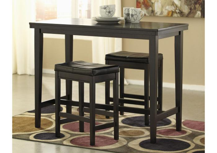 DR6 Contemporary Dark Counter Table & 2 Stools,Taft Furniture Showcase