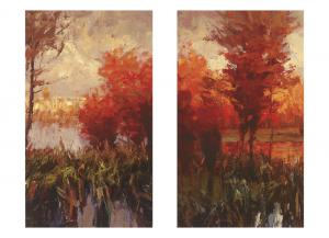 Fall Trees Canvases: Set of 2