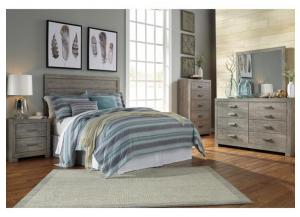 MB123 Gray Queen Panel Headboard, Dresser, Mirror & Nightstand