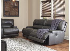 Catskill Gray Leather Power Reclining Sofa