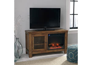 HE19 Rustic Brown TV Stand w/ LED Fireplace Unit