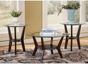 Metal & Glass Round 3-Pack Table Set
