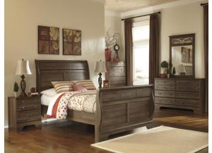 MB15 Aged Oak Queen Sleigh Bed, Dresser, Mirror & Nightstand