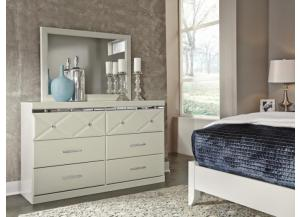 MB77 White Contemporary Dresser & Mirror