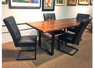 DR106 Walnut & Metal Dining Table & 4 Chairs