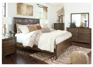 MB131 Brown Contemporary Queen Panel Bed, Dresser, Mirror & Nightstand