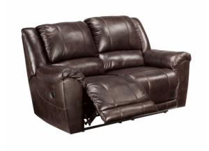Axiom Walnut Leather Reclining Loveseat
