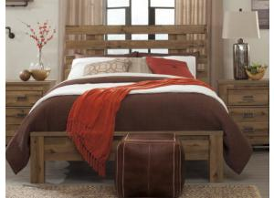MB67 Vintage Light Brown Queen Panel Bed