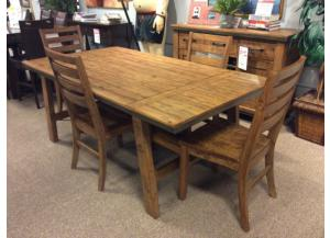 DR72 Light Brown Plank Dining Table & 4 Chairs