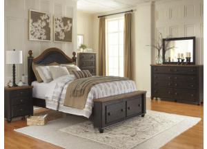 MB90 2-Tone Queen Storage Bed, Dresser, Mirror & Nightstand