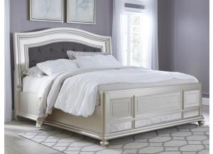MB97 Silver Mirror Queen Upholstered Panel Bed