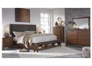 MB120 Rustic Charm King Storage Bed, Dresser, Mirror & Nightstand