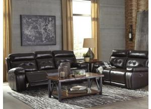 Walnut Leather Seating Power Reclining Sofa