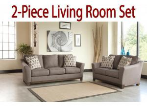 2-Piece Living Room Set: Nugat Slate Sofa and Loveseat