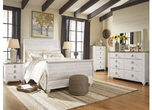 MB107 2-Tone Whitewash Queen Sleigh Bed, Dresser, Mirror & Nightstand