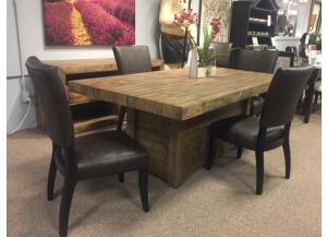 DR104 Brown Plank Dining Table & 4 Chairs