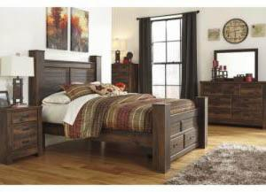 MB16 Rustic Cottage Queen Storage Poster Bed, Dresser, Mirror & Nightstand