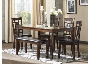 DR97 Contemporary Brown Dining Table, Bench & 4 Chairs