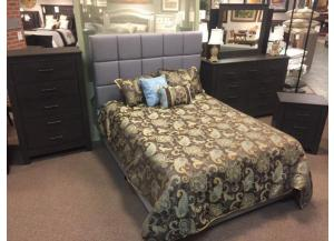 MB130 Dark Charcoal Upholstered Queen Bed, Dresser, Mirror & Nightstand