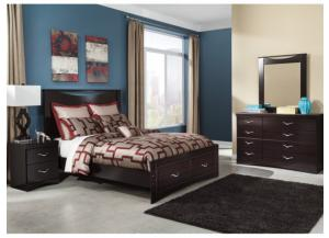 MB8 Merlot Mahogany Queen Storage Bed, Dresser, Mirror & Nightstand
