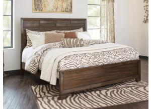 MB131 Brown Contemporary King Panel Bed