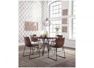 DR108 Brown/Metal Dining Table & 4 Chairs