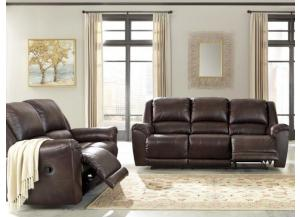 Axiom Walnut Leather Reclining Sofa