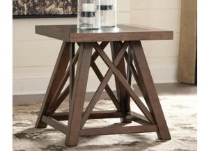 Wood & Faux Stone Square End Table