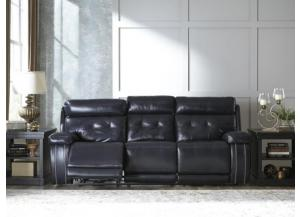 Navy Leather Seating Power Reclining Sofa