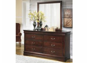 MB13 Louis Brown Cherry Dresser & Mirror